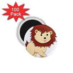 Happy Cartoon Baby Lion 1 75  Magnets (100 Pack)  by Catifornia