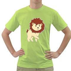 Happy Cartoon Baby Lion Green T Shirt by Catifornia