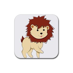 Happy Cartoon Baby Lion Rubber Square Coaster (4 Pack)  by Catifornia