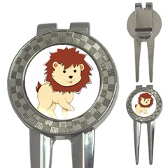 Happy Cartoon Baby Lion 3 In 1 Golf Divots by Catifornia
