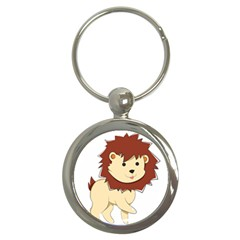 Happy Cartoon Baby Lion Key Chains (round)  by Catifornia