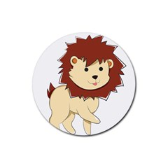 Happy Cartoon Baby Lion Rubber Coaster (round)  by Catifornia