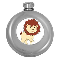 Happy Cartoon Baby Lion Round Hip Flask (5 Oz) by Catifornia