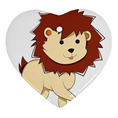 Happy Cartoon Baby Lion Heart Ornament (two Sides) by Catifornia
