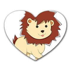 Happy Cartoon Baby Lion Heart Mousepads by Catifornia