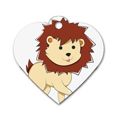 Happy Cartoon Baby Lion Dog Tag Heart (two Sides) by Catifornia