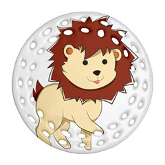 Happy Cartoon Baby Lion Round Filigree Ornament (two Sides) by Catifornia