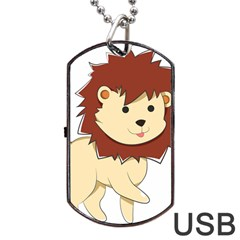 Happy Cartoon Baby Lion Dog Tag Usb Flash (one Side)