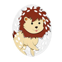 Happy Cartoon Baby Lion Oval Filigree Ornament (two Sides) by Catifornia