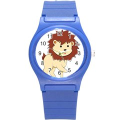 Happy Cartoon Baby Lion Round Plastic Sport Watch (s) by Catifornia