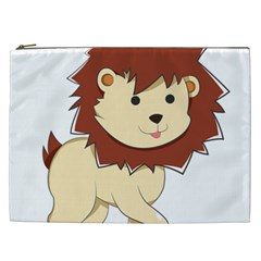 Happy Cartoon Baby Lion Cosmetic Bag (xxl)  by Catifornia