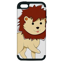 Happy Cartoon Baby Lion Apple Iphone 5 Hardshell Case (pc+silicone) by Catifornia
