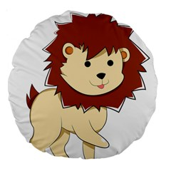 Happy Cartoon Baby Lion Large 18  Premium Round Cushions by Catifornia