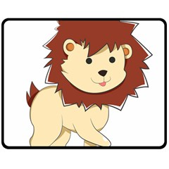 Happy Cartoon Baby Lion Double Sided Fleece Blanket (medium)  by Catifornia