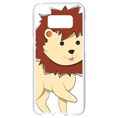 Happy Cartoon Baby Lion Samsung Galaxy S8 White Seamless Case by Catifornia