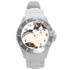 Ragdoll Cat For Life Round Plastic Sport Watch (l) by Catifornia
