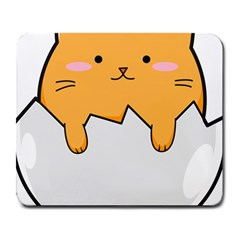 Yellow Cat Egg Large Mousepads by Catifornia
