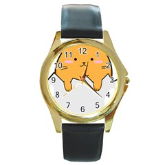 Yellow Cat Egg Round Gold Metal Watch by Catifornia