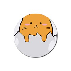 Yellow Cat Egg Rubber Coaster (round)  by Catifornia