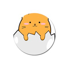 Yellow Cat Egg Magnet 3  (round) by Catifornia