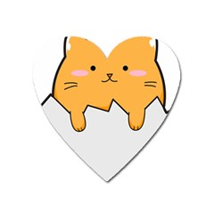 Yellow Cat Egg Heart Magnet by Catifornia