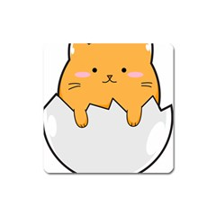 Yellow Cat Egg Square Magnet by Catifornia