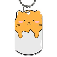 Yellow Cat Egg Dog Tag (two Sides)