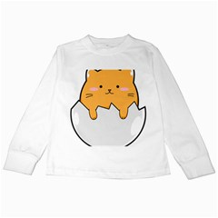 Yellow Cat Egg Kids Long Sleeve T Shirts by Catifornia