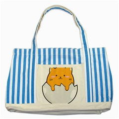 Yellow Cat Egg Striped Blue Tote Bag by Catifornia