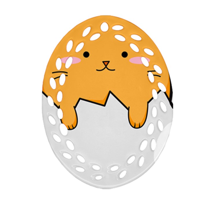 Yellow Cat Egg Oval Filigree Ornament (Two Sides)