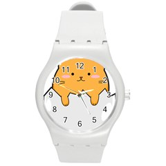 Yellow Cat Egg Round Plastic Sport Watch (m) by Catifornia