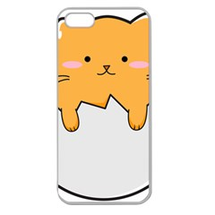 Yellow Cat Egg Apple Seamless Iphone 5 Case (clear) by Catifornia