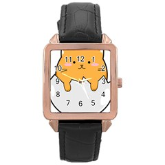 Yellow Cat Egg Rose Gold Leather Watch  by Catifornia