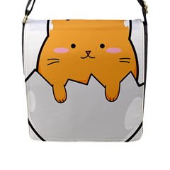 Yellow Cat Egg Flap Messenger Bag (l)  by Catifornia