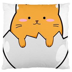 Yellow Cat Egg Standard Flano Cushion Case (two Sides) by Catifornia