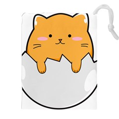 Yellow Cat Egg Drawstring Pouches (xxl) by Catifornia