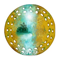 Turquoise River Round Filigree Ornament (two Sides) by digitaldivadesigns
