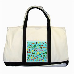Beach Pattern Two Tone Tote Bag by Valentinaart