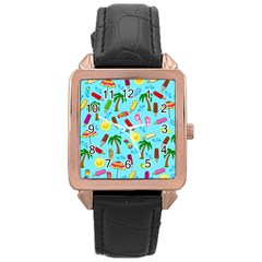 Beach Pattern Rose Gold Leather Watch  by Valentinaart