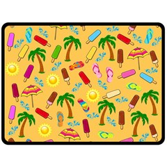 Beach Pattern Fleece Blanket (large)