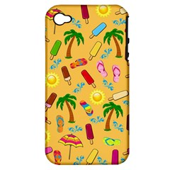 Beach Pattern Apple Iphone 4/4s Hardshell Case (pc+silicone) by Valentinaart