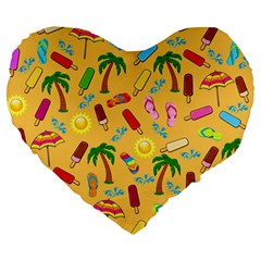 Beach Pattern Large 19  Premium Flano Heart Shape Cushions