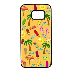 Beach Pattern Samsung Galaxy S7 Black Seamless Case by Valentinaart