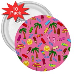 Beach Pattern 3  Buttons (10 Pack)  by Valentinaart