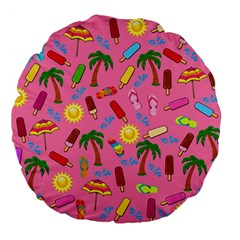 Beach Pattern Large 18  Premium Flano Round Cushions by Valentinaart