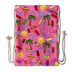Beach Pattern Drawstring Bag (large) by Valentinaart