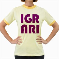 Migraine Warrior With Ribbon Women s Fitted Ringer T-shirts by MigraineursHideout
