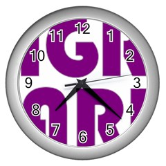 Migraine Warrior With Ribbon Wall Clocks (silver)  by MigraineursHideout