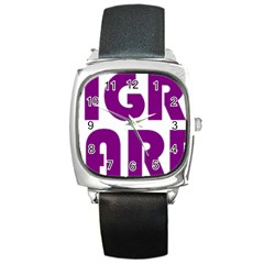 Migraine Warrior With Ribbon Square Metal Watch by MigraineursHideout