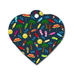 Beach Pattern Dog Tag Heart (one Side)